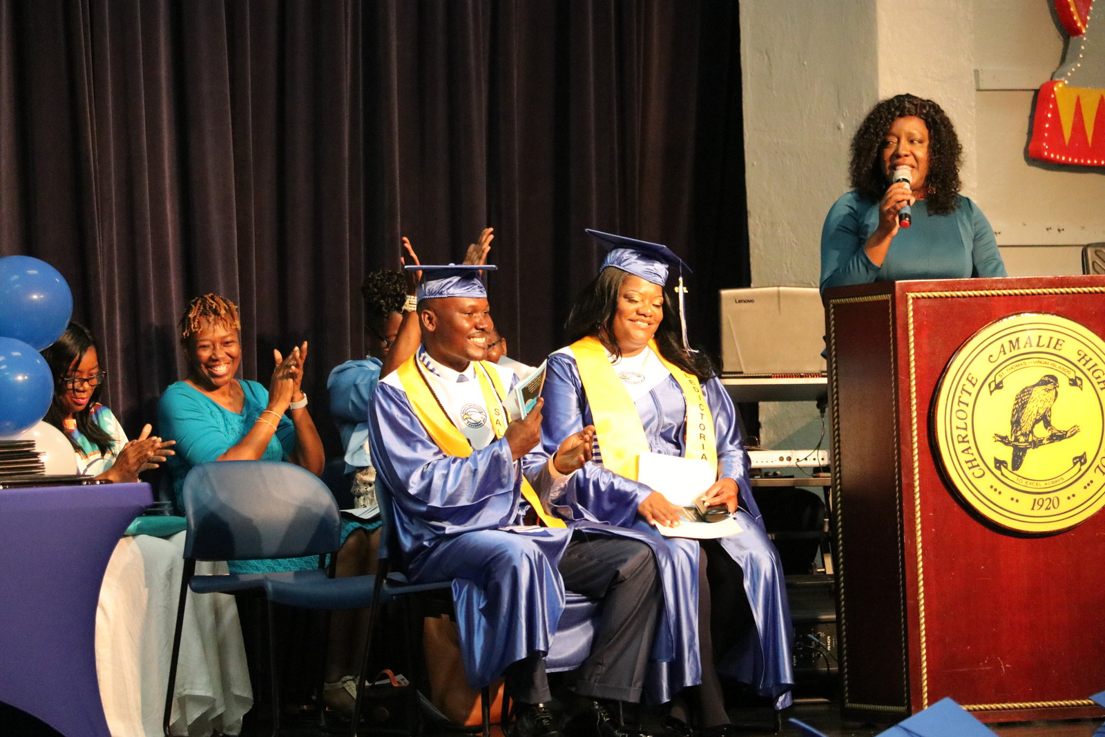 Desha Powell, Deputy Superintendent delivers thanks and inspiration to graduates.JPG