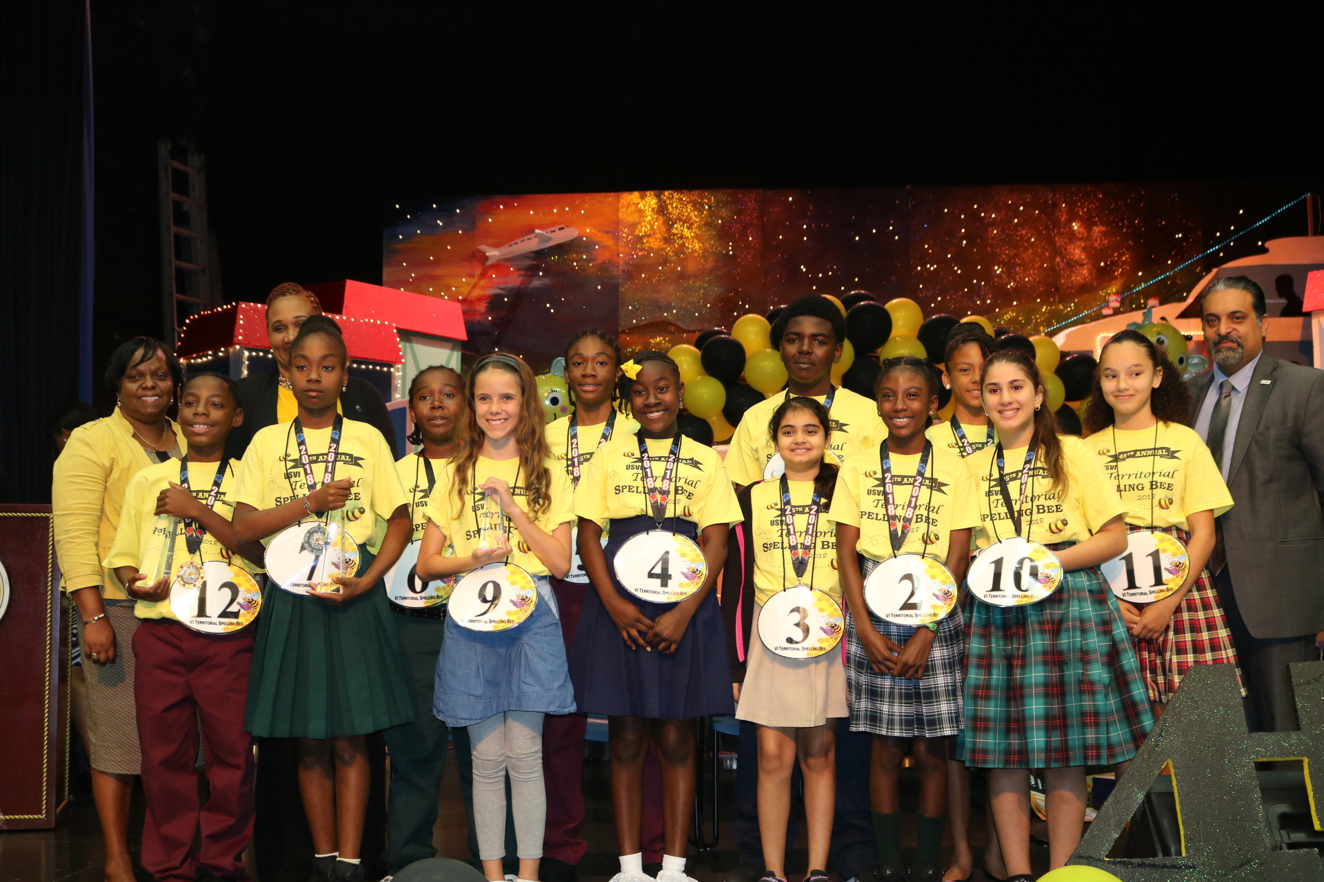 Spelling Bee Participants with Superintendents Colleen Williams and Dionne Wells-Hedrington and United Way USVI CEO Vinod Dadlani.jpeg