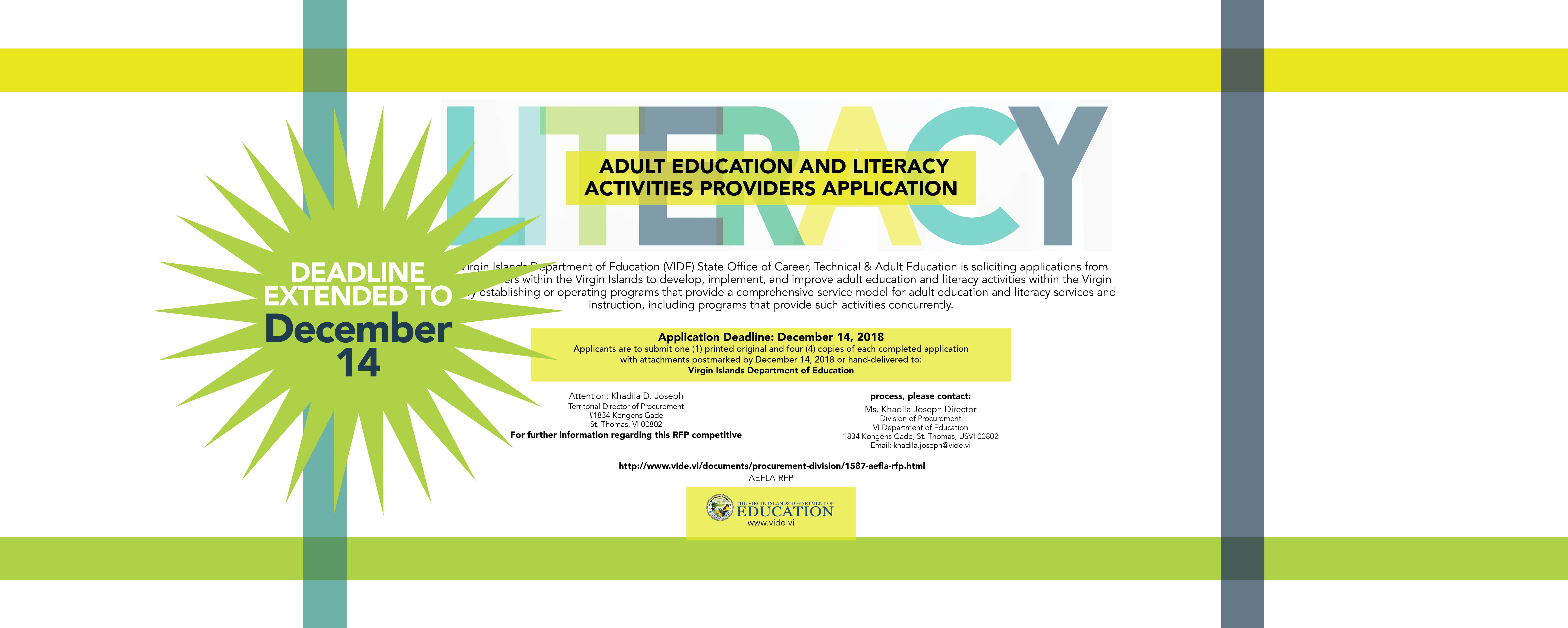 Adult Education RFP for Literacy Services