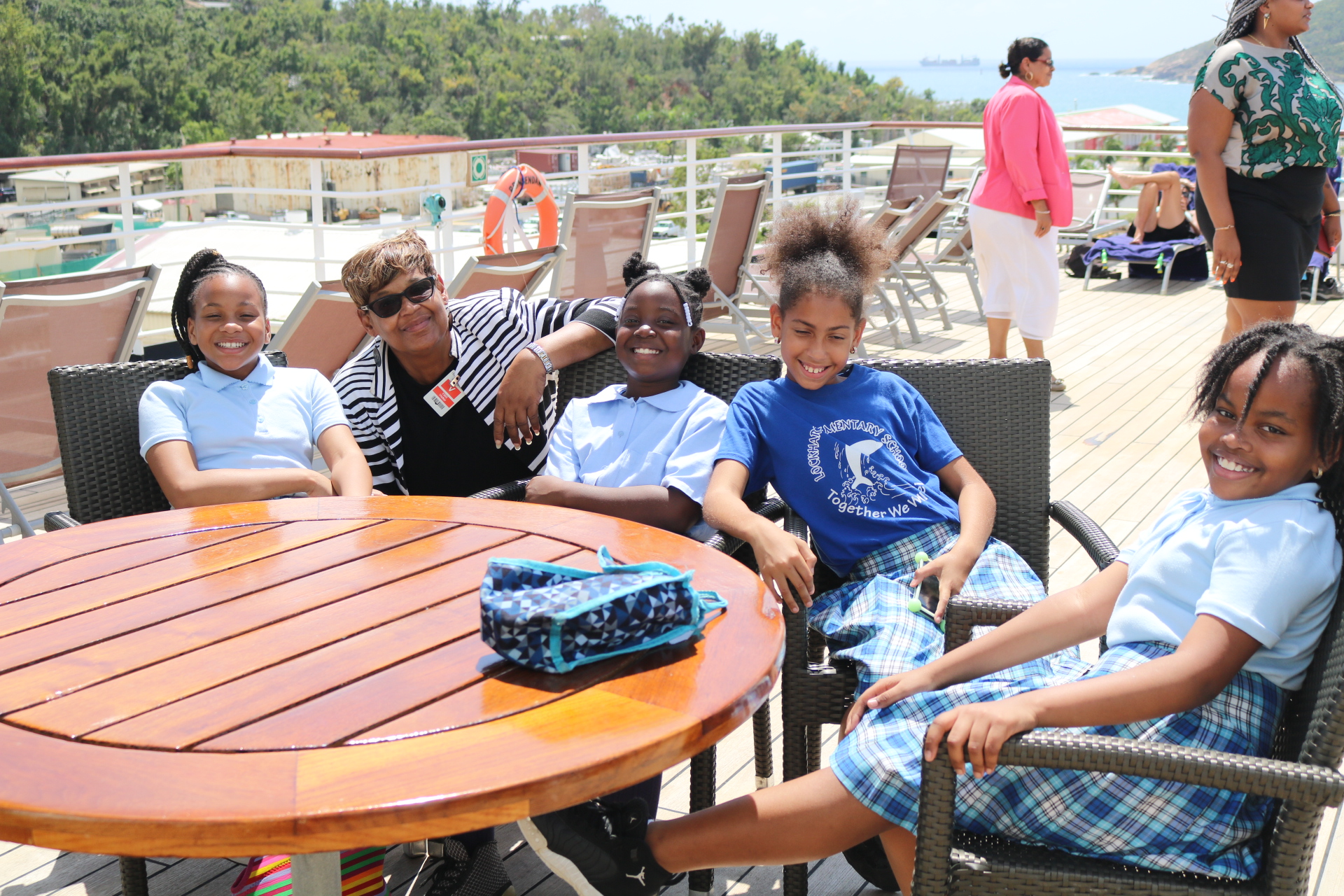 Lockhart Principal Bowry with some of her students aboard the ms Prinsendam.jpeg