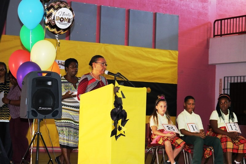 PRINCIPAL JOAN CLAXTON congratulates winners and participants.jpg