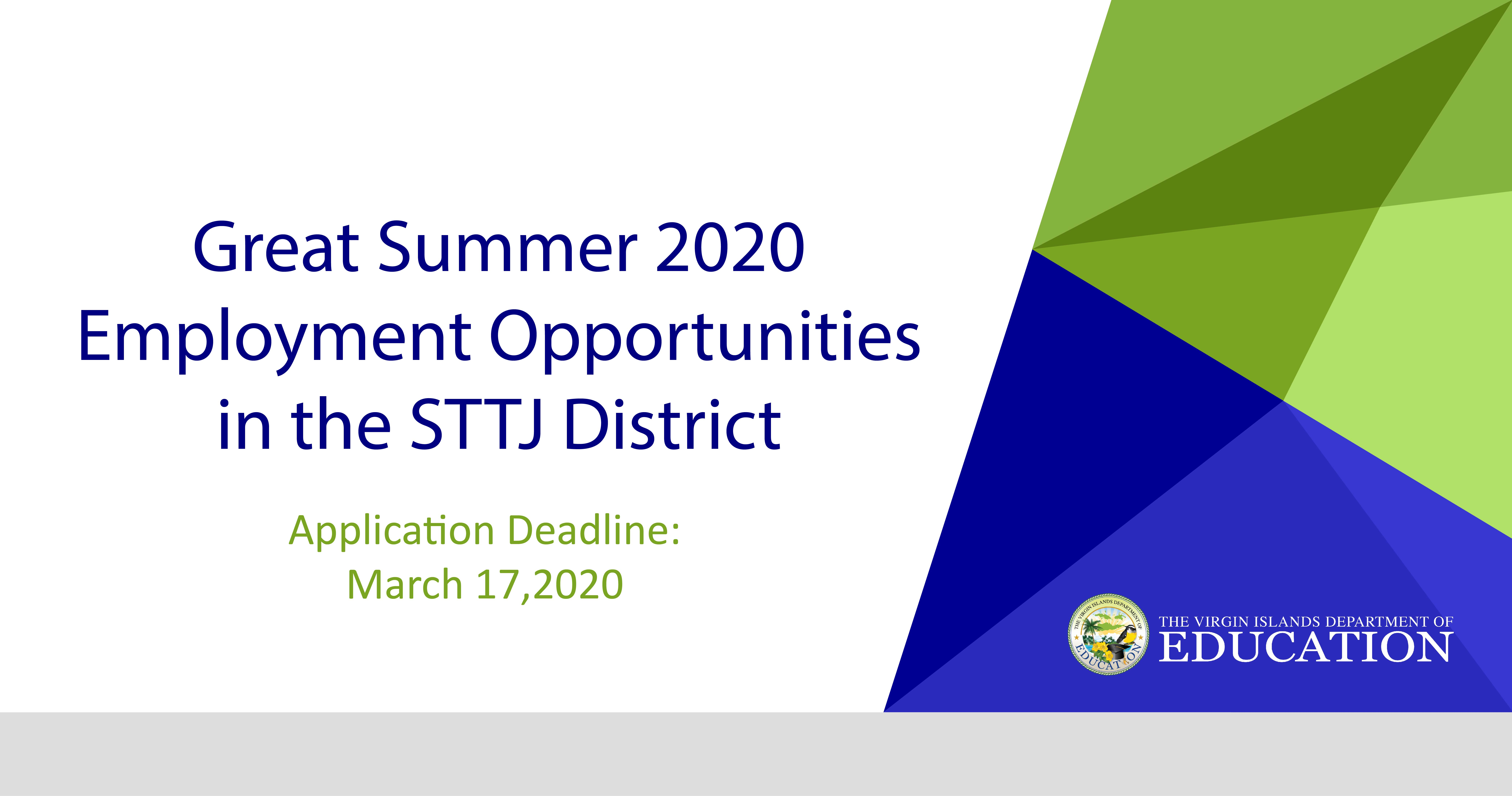 Apply Today! STTJ Summer Program Employment Opportunities